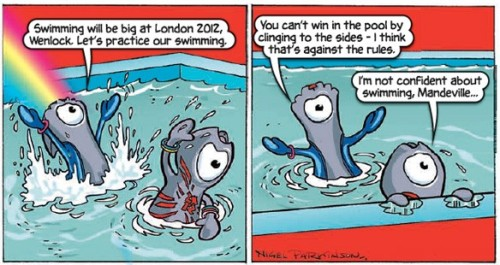 Olympic Mascots Wenlock And Mandeville Star In Their Own Incomprehensible Comic Strip By Chris Sims If you've been watching the Olympics as obsessively as I have, you may already be familiar with Wenlock and Mandeville, the adorable mascots for the London games that also happen to be terrifying Lovecraftian Cyclopean horrors. Not content with whatever sinister plans they have for the real world, Wenlock and Mandeville have now invaded comics, courtesy of Britain's weekly The Beano and cartoonist Nigel Parkinson, and the end results are… well, they're just weird. Read more.
