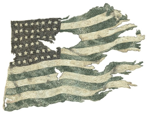 """false flag"" by curtis readel this flag is made of shredded US currency. very creative."