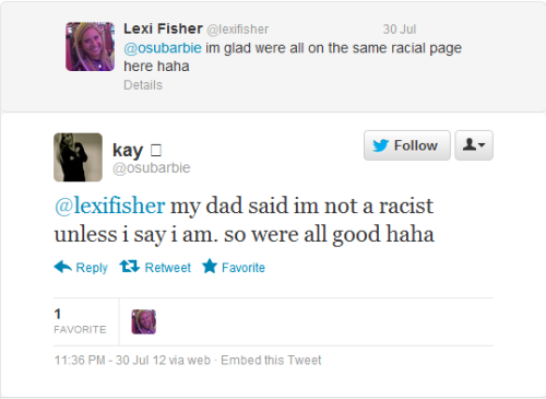 "femmenoire:  AND THIS IS HOW WHITE PEOPLE THINK ABOUT RACISM.  ""I can say all the racist shit I want but if I say I'm not racist, I'm not."""