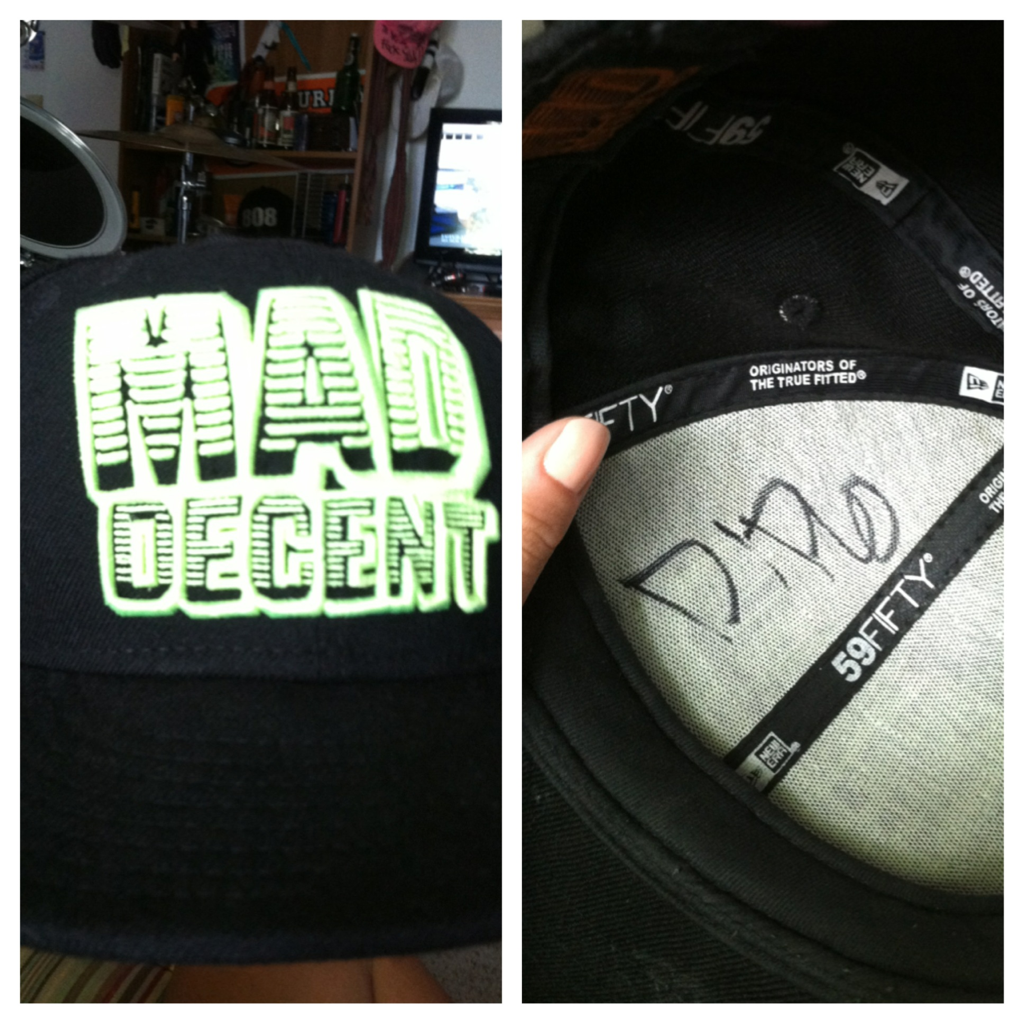 """Will you sign my hat? -Vonn ""It's black."" -Diplo ""……do your best."" -Vonn"