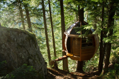 The HemLoft Hidden Egg Treehouse in Whistler, Canada built by Joel Allen