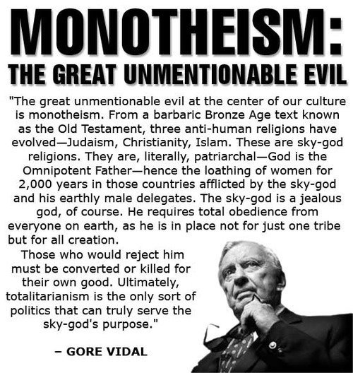 friendlyatheist:  fuckyeahreligionpigeon:  I'm a big Gore Vidal fan, and his passing has removed another great voice from the discussion in support of atheism.   R  Yes.
