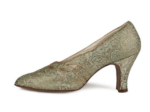 (via Shoe-Icons / Shoes / Light olive brocade pumps with medium hight spanish heels.)
