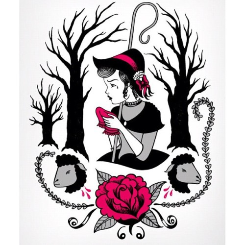 "I have two of these hand pulled screen prints from 2011 left at www.vedaart.com - ""Bow Peep"" 11x16 limited edition of only 3 prints on heavy archival paper ($50 or an awesome trade) #bowpeep #art #prints #yelley #yelleyart  (Taken with Instagram)"