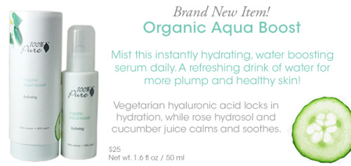 "Mist this instantly hydrating, water boosting serum daily.  A refreshing drink of water for more plump and healthy skin! A single mist may be enough hydration for oily skin complexions.  For dry skin, you may want to add a moisturizer on top of this water boosting serum.  ""Hydration"" is adding water into your skin cells whereas ""moisturization"" adds oil - healthy skin needs a good combination of both.  Vegetarian hyaluronic acid locks in hydration while rose hydrosol and cucumber juice calms and soothes.  Gentle and pure enough to be used all over your face (including around eyes), hands, neck and decollete area.  To use:  mist on clean skin both AM and PM.    Order yours today!  ~Melissa Jaynes www.FoodsForYourSkin.com  Ingredients: Rosa Centifolia Flower Water (Rose Hydrosol)1, Cucumis Sativus Fruit (Cucumber Juice), Hyaluronic Acid  1 certified organic by OTCO"