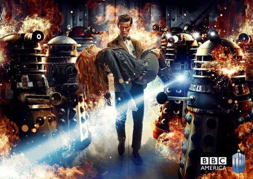 Here is the first launch art for Doctor Who Series 7. Here's the description:   The image shows Amy Pond being carried by an injured, grim-faced Doctor. They're both surrounded by Daleks that have been encountered during different eras of the Time Lord's travels. A Dalek on the right of the picture does not have any of the vertical grille-like slats that have become a familiar feature, indicating it's a version the Doctor faced when he first met his oldest enemies on Skaro. And on the left there's a Special Weapons Dalek, last seen in the 1988 story, Remembrance of the Daleks. It's a fiery and exciting sign of what's to come in the new series!   Speculate away…. We also have the launch trailer for Series 7 coming in six hours so tuck this blog away in its own tab and come back at 6am UK time/1am EDT/10pm PDT Here's a direct download for a very big version of the image