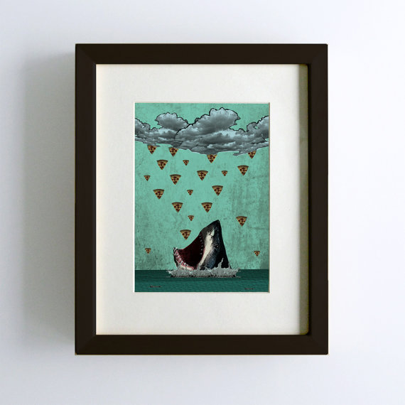 Yet another print has been sold via Etsy! This shark will be off the market for a couple of days, but he'll be back for you to snatch up should you want him for your home. Because, who doesn't like pizza? See more prints.