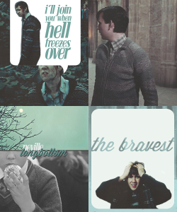 "mshiddles:  { Favorite Characters } ♥ Neville Longbottom - Harry Potter  ""I'll join you when Hell freezes over,"" said Neville. ""Dumbuldore's Army!"" he shouted, and there was an answering cheer from the crowd, whom Voldemort's Silencing Charms seemed unable to hold."""