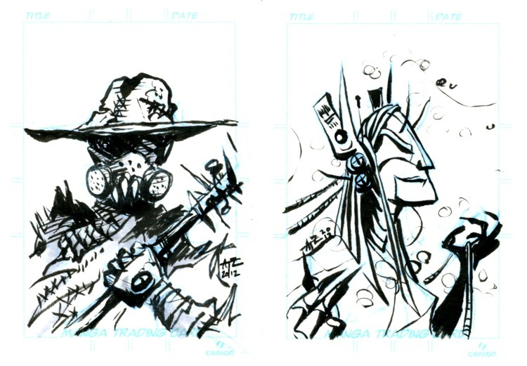 punkedcomic:  BUSTED!Here are samples of the bust sketch perks some wonderful people will be getting in the mail! We offer four themes, these being post apocalyptic and cyberpunk :)  A sneak peek at a couple of the bust sketches we'll be mailing out with the books!  If you haven't done so yet, feel free to take a look at our Indiegogo fundraiser and maybe donate a few BUCKAROOS to help a bunch of artists get their work printed!  You will earn plenty of cool stuff in the process!
