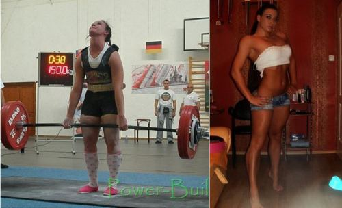 Violetta Varga, 440lb deadlift world record holder@ 148lbs bodyweight. Same woman in both photos.