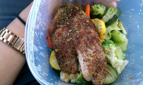 Lunch. Mixed herbs on oven roasted tilapia on a huge bed of assorted veggies such as broccoli, squash, cauliflower, and carrots.  I've done better.