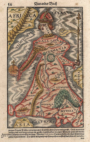 """Europa regina map from Münster (1570). The British Isles and Scandinavia are not included in Europe proper."" Via collective-history."