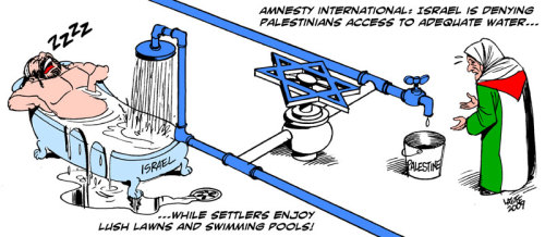 Shaddad Attili, the head of the Palestinian Water Authority, reported today that Palestinians receive 105 million cubic meters of water, less than the amount allocated in the 1995 Oslo Accords and around a quarter of the 400 million cubic meters needed according to international standards. The average settler gets 70 times what the average West Bank Palestinian gets. Israel has for decades controlled the finite water in the West Bank, keeping the amount Palestinians get low. This means they have to buy water from Israel, putting the Palestinian Water Authority into billions of shekels of debt. In Gaza, the situation's even worse, with 95% of the water not fit for human consumption. Sea water (contaminated with sewage) leaks into the over-extracted coastal basin, threatening long-term problems of kidney disease. Within two years there may be no drinking water left in Gaza, Attili said.
