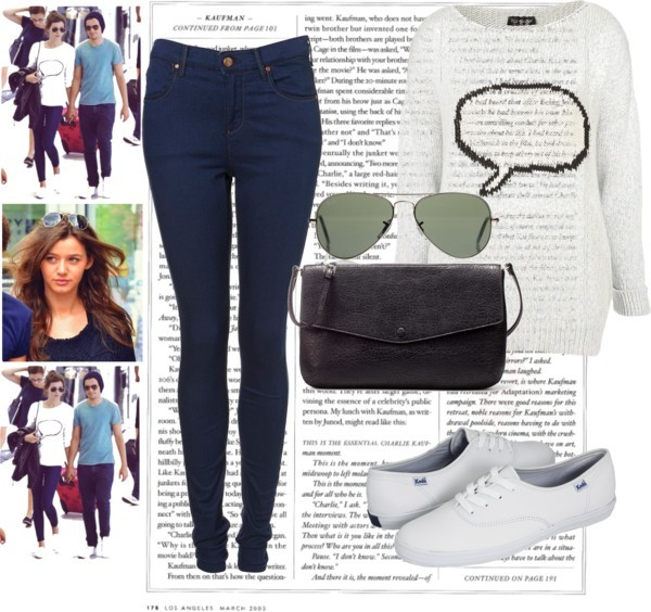 Eleanor Calder Style ♥ by deleanorfash featuring messenger bagsKnit top / Skinny jeans / Keds wedge shoes / Zara messenger bag / Rayban Unisex RB3025 Aviator Large Metal Sunglasses, $210