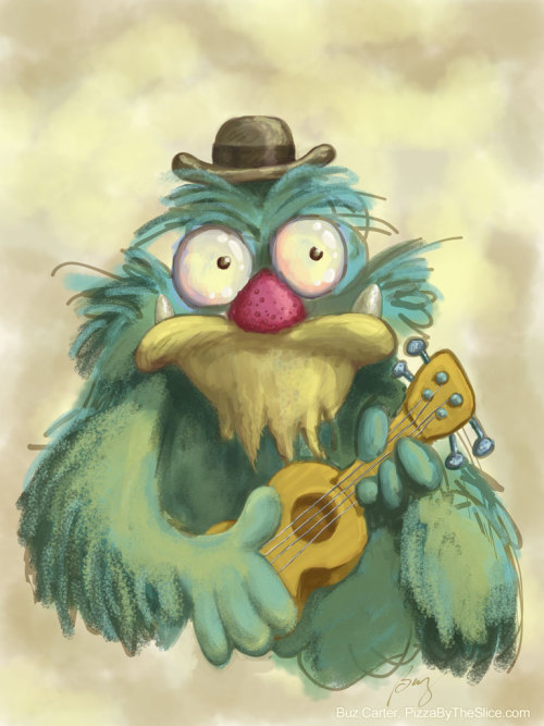 "Muppet-esque Monster Posing with His Ukulele (Sketch) Doodling whilst watching the Olympics. Apparently had The Muppet Movie lodged somewhere in my noggin — perhaps it's Ludlow's bounce-running like a Muppet, throwing his head back and yelling ""yaaaaaaaaay"" in a Kermit-y voice every time anyone does well (yes, your life would be much richer if you could see it, and yes, it's prime Tumblr animated gif fodder, but, no, I'm resisting such a posting for the moment). Sketched with Brushes for iPad. Of course, you can get in on the act — learn The Rainbow Connection, truly one of best amphibian tunes around, no? Watch Mike Lynch's how-to lesson Grab the solo uke tabs from Ukulele Hunt My notes about finger plucking the intro (stolen from Ncinaz's performance) Lyrics plus chords from Alligator Boogaloo Some friends choose this song, played on a cello, in lieu of that traditional wedding march — not a dry eye in the house. PS. Naturally the sketch makes an awesome iPad wallpaper. duh (via Pizza By The Slice)"