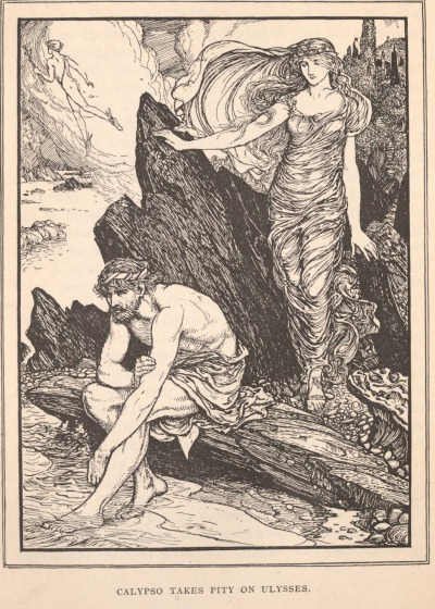 Tales of Troy and Greece, by Andrew LangIllustrations by H. J. Ford (1907)Calypso takes pity on Ulysses