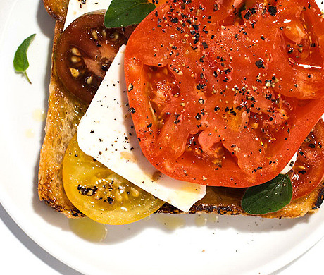 Tomato and cheese: Together forever! Tomato-Feta Open-Face Sandwich (Bon Appétit, August 2012)
