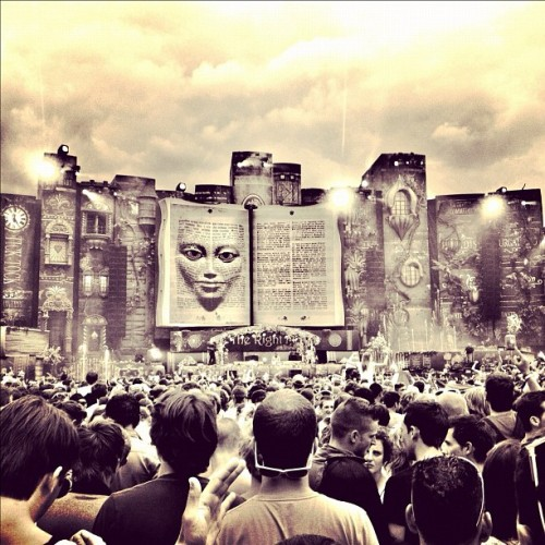 Shot of the main stage at #tomorrowland 2012, shortly after helicopters had dropped petals on the crowd..  (Taken with Instagram at Tomorrowland)