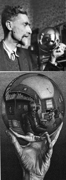 Escher, Mauritis (1899-1972) - 1935 #SelfPortrait in Spherical Mirror // wow, this is a good one. I've never even seen a photo of the real Escher before