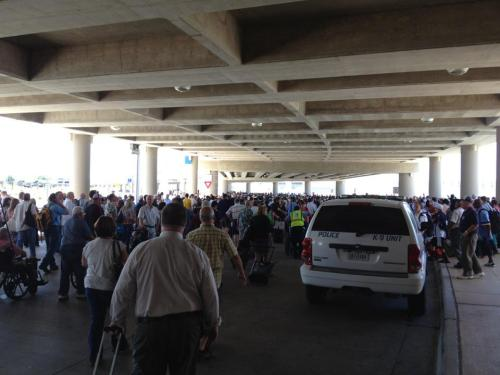 CNN reports that Terminal B has been ruled safe, and passengers are being allowed back into the building. Local-station KSAT is currently hosting a livestream with coverage of events at the airport as they continue to unfold. (Photo via Kevin Hoffman) source  (more on the story here) UPDATE:  The bomb threat has been lifted,  Breaking News reports.