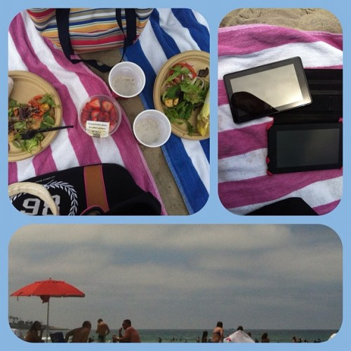 #beachday w @marymunar - Vince's Sandwiches, Fruit & Salad from Whole Foods and Blue Moons.  (Taken with Instagram at La Jolla Shores Beach)