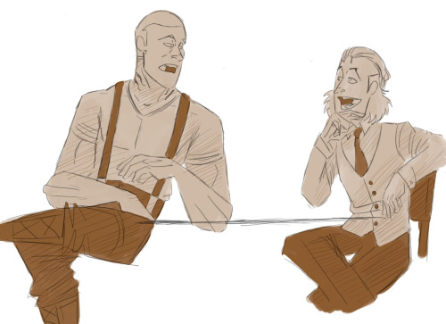 Sereg and James have a chat. Prolly about Dean using double negatives in his sentences again. It's his accent boys! He can't help it!  Sereg is a ForgeMaster. You can tell by the vent marks on his neck. He has a massive tattoo on his back where his fellow Forgemasters burned  a seal to trap him in human form. ( For reasons. ) While he is bruteish looking, Sereg is quite eloquent.  He is the muscle of Dean and James. He defends them from physical situations they can't handle. He loves the fight. The act of it.  He says he learns all he needs to know about a person by fighting them hand to hand.  Like all of his kind, he bleeds molten liquid when harmed.  Also like all of his kind, he has a dislike of water. He can stand the rain but submerging him in water causes the lava in their bodies to harden. They can be reanimated by being filled with lava once again.   ( I just need to decide on a final concept for Forgemasters. : T  )   Sereg is a big guy in his human form. Bigger then Keegan. He tolerates Keegan because Dean and James both like him. But Forgemasters detest the unnatural dead.