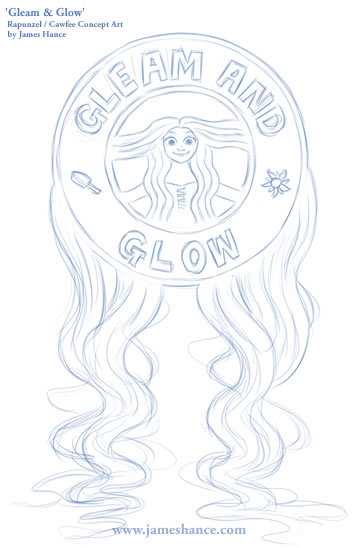 'Gleam & Glow' - Rapunzel / Cawfee concept art. What do you guys think? Potential tee design? :)http://www.jameshance.com