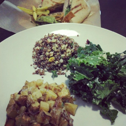 Quinoa, Kale, and potato salads. #eat #temecula #ontheroad  (Taken with Instagram)