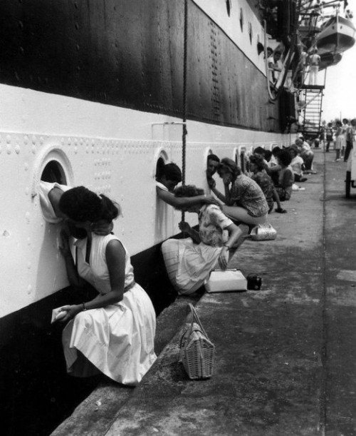 "Italian sailors on the ""Amerigo Vespucci"" saying goodbye to their loved ones, 1963"