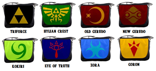 muchneededmerch:  Out with the old in the with NEW LOZ messenger bags! Choose your favorite symbol,color of design, and background. Great for getting back to school. I will also have some new back packs in soon as well. Follow Much Needed Merch on Tumblr and or Facebook (10% off code)