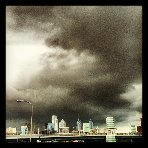 Storm's a brewin' over #philly. #weather #cloudporn ⚡ (Taken with Instagram)