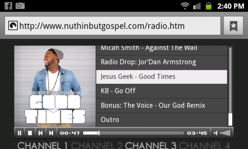 Jesus Geek on nuthinbutgospel.com Radio ! Yaaaay