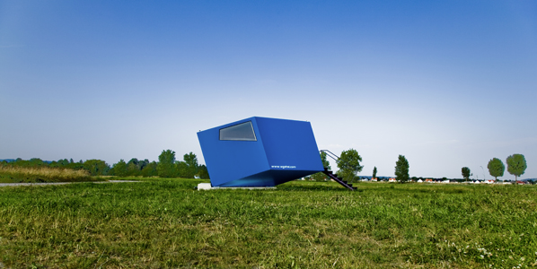thekhooll:  Hypercube Micro Hotel designed by WG3 the tiny building is a parametric interpretation of a big concept - the hypercube. The interior provides a cozy retreat from which one may view the vast landscapes that surround the mini house.