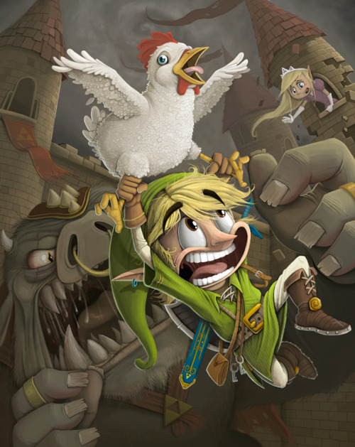 Link is having a really rough time getting a win in this humorous fun filled Legend of Zelda fan art illustration created by Dave Armstrong. Legend of Zelda by Dave Armstrong (Blog) (Society6) Thanks Jake Murray!