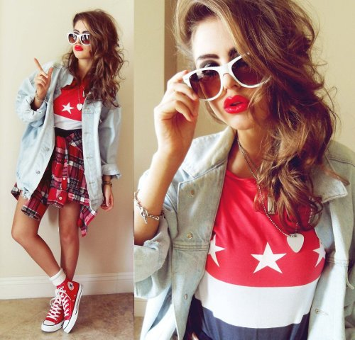 Converse & red lips girl