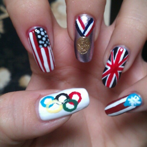 #nailart #olympiccontest #olympics #london2012 #puertorico #usa #gbr #gold #olympicrings (Taken with Instagram)