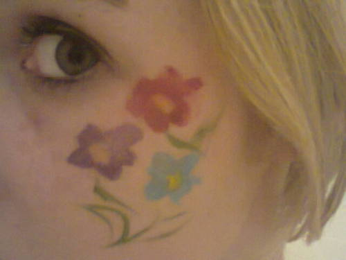 face painted for the mutlticoloured ceili. A girl in my house took a party popper to the eye