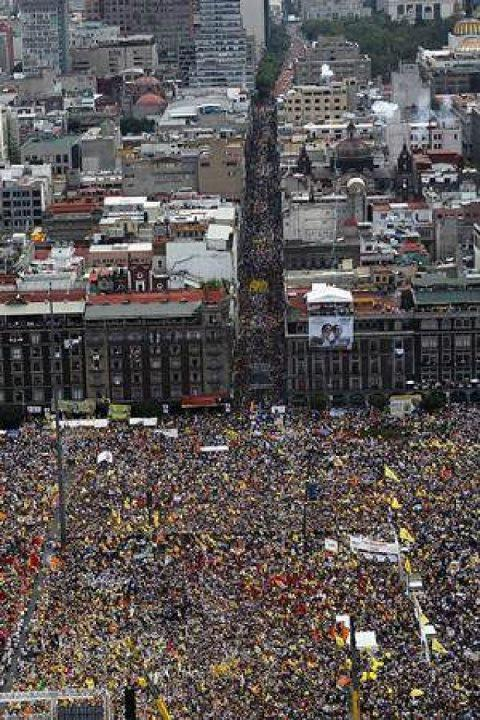 electric-liquid:  Ongoing Mexico Revolution - Ignored by the Media Mexico, July 11, 2012. The largest protest in human history. USA and UK governments pushed the press not to publish. Google censored videos on youtube and restricted keywords on this event. The Mexican media has blacking out the protests against their new government, who have been accused of doing everything from buying votes to buying off the media. If the corporate media won't spread this story, then let's spread the story. Share this all over your pages and your friend's pages and help support the democracy movement in Mexico.  Source check? Does anyone have a link to ANY information?