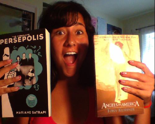 LOOK WHAT CAME IN THE MAIL TODAY! The Complete Persepolis and Angels in America, required reading for my core class. I'm so excited. Porter is da best. So is my face.