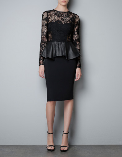 GAH! Zara is making it really hard to save my money. peplum detail, leather and lace?