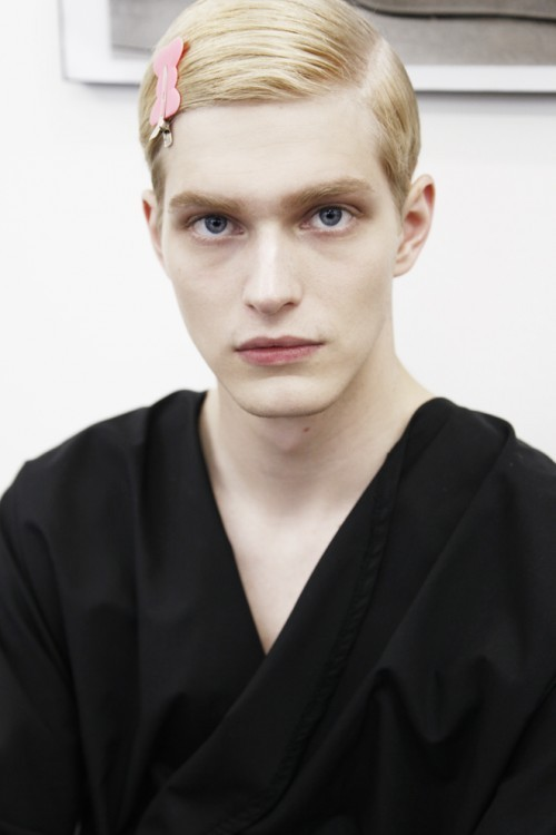 Backstage: Prada Menswear Spring/Summer 2013 Milan Model: Carlos Peters