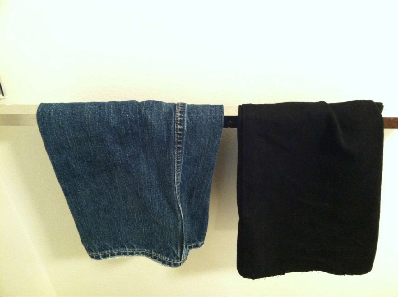 I'm using the legs from the jeans I cut up to make jorts as hand towels