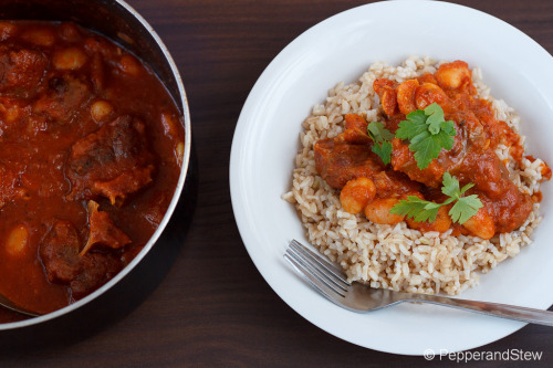 Jollof Sauce Oxtail and Butter Bean Stew  Receipe: http://www.pepperandstew.co.uk/2012/08/01/jollof-sauce-oxtail-and-butter-bean-stew/