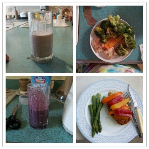Hey guys! I'm back at it :] yesterday's meals;  Breakfast: almond jelly shake — 2 tbsp raspberry preserves, 1 tbsp almond butter, 1 tbsp greek yogurt, 2 scoops bbvi mix, almond milk, ice, blend.   Lunch: left over tilapia and bell peppers with broccolli.  Snack: blueberry shake — frozen blueberries, 2 scoops bbvi mix, almond milk, blend.  Dinner: mozzarella chicken breast with asparagus and bell peppers. Recipe found if you click on the 'recipe' link to the left.   Water intake: a little more than a half gallon.  Workout: rest  Training tonight!! Ahh :]  Byebye, for now!