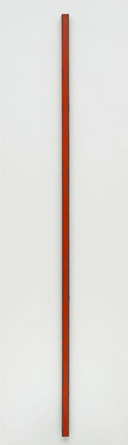 cavetocanvas:  Barnett Newman, The Wild, 1959 From Wiki Paintings:  The Wild is unique in Newman's oeuvre by virtue of its unusual size: at eight feet tall by one and a half inches wide, it focuses on the zip alone. When first exhibited it was placed directly across from the vast Vir heroicus sublimis, and was said to be a response to the latter's sprawling size. It demonstrated Newman's belief that a painting need not be physically large to inspire an intense response from the viewer. The Wild could also be regarded as one of the first of the shaped canvases that became popular over a decade later with the arrival of artists such as Frank Stella and Kenneth Noland.