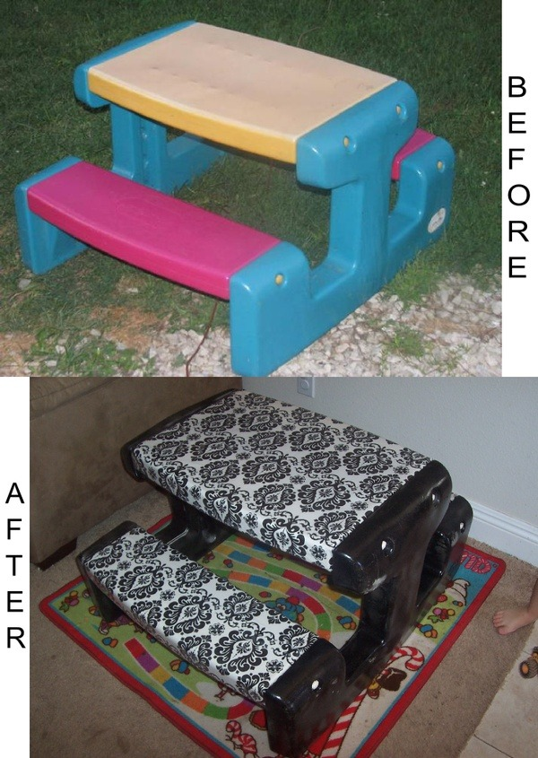 whynotjustdiy:  love this idea! i see these tables at yard sales all the time and I for one, have never understood why the makers of those things would choose those god awful colors but you know….it happens i spose. click the image for the how-to!