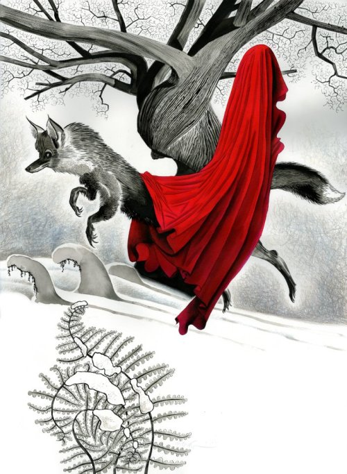 "neil-gaiman:  The Mister Fox poem from SMOKE AND MIRRORS, ""The White Road"", as depicted by Dave McKean…"