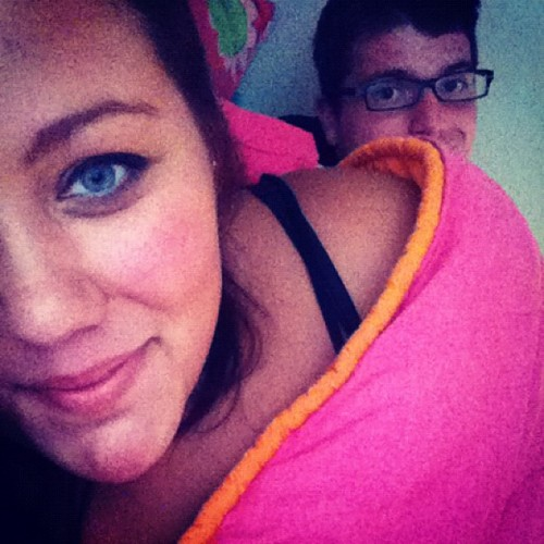 @maxk66 always knows where to find me. snuggg fest in bed before church jobs. #snugg #max #bestfriends #love #summer #missya #movebacknow  (Taken with Instagram)