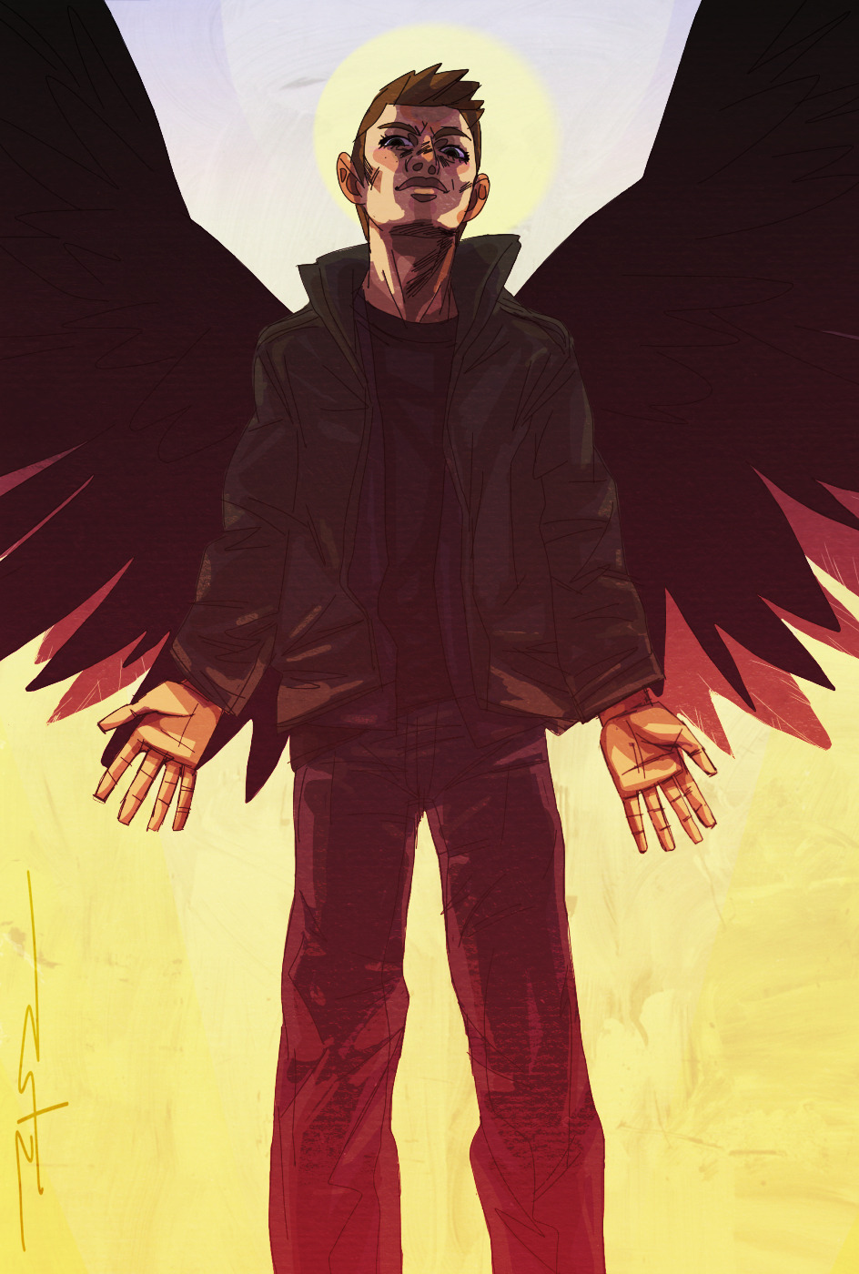 unbefreakinlivable:  Angel!Dean (One more for the supernatural summer hiatus drawing theme 'We drew monsters' (a theme which where later abandoned, but still just such a cool idea that I had to draw stuff for it)).
