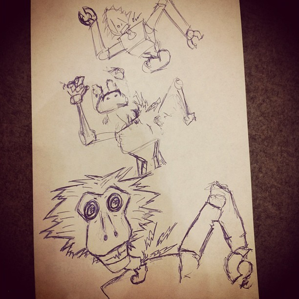 Sketching the pop'n locking robot with the monkey head (Taken with Instagram)